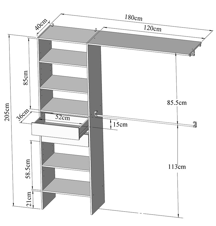 Kit am nagement placard 180 cm 2 tiroirs 2 penderies 4421a2121a00 achat - Dimension placard coulissant ...