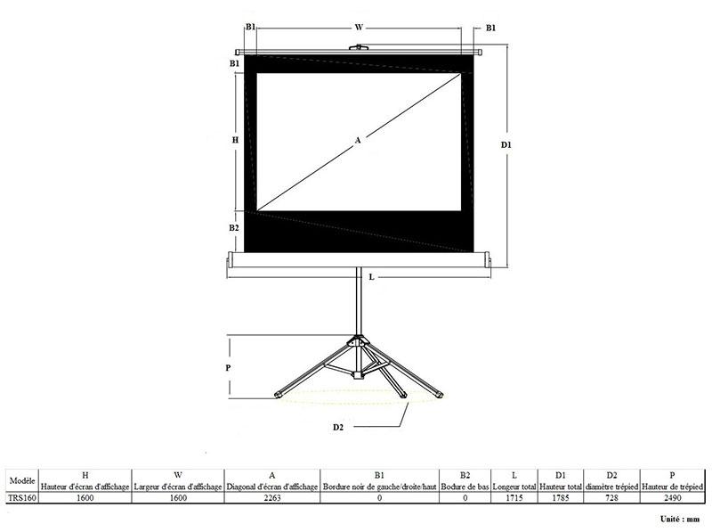 ldlc ecran tr pied format 1 1 160 x 160 cm ldlc pro. Black Bedroom Furniture Sets. Home Design Ideas