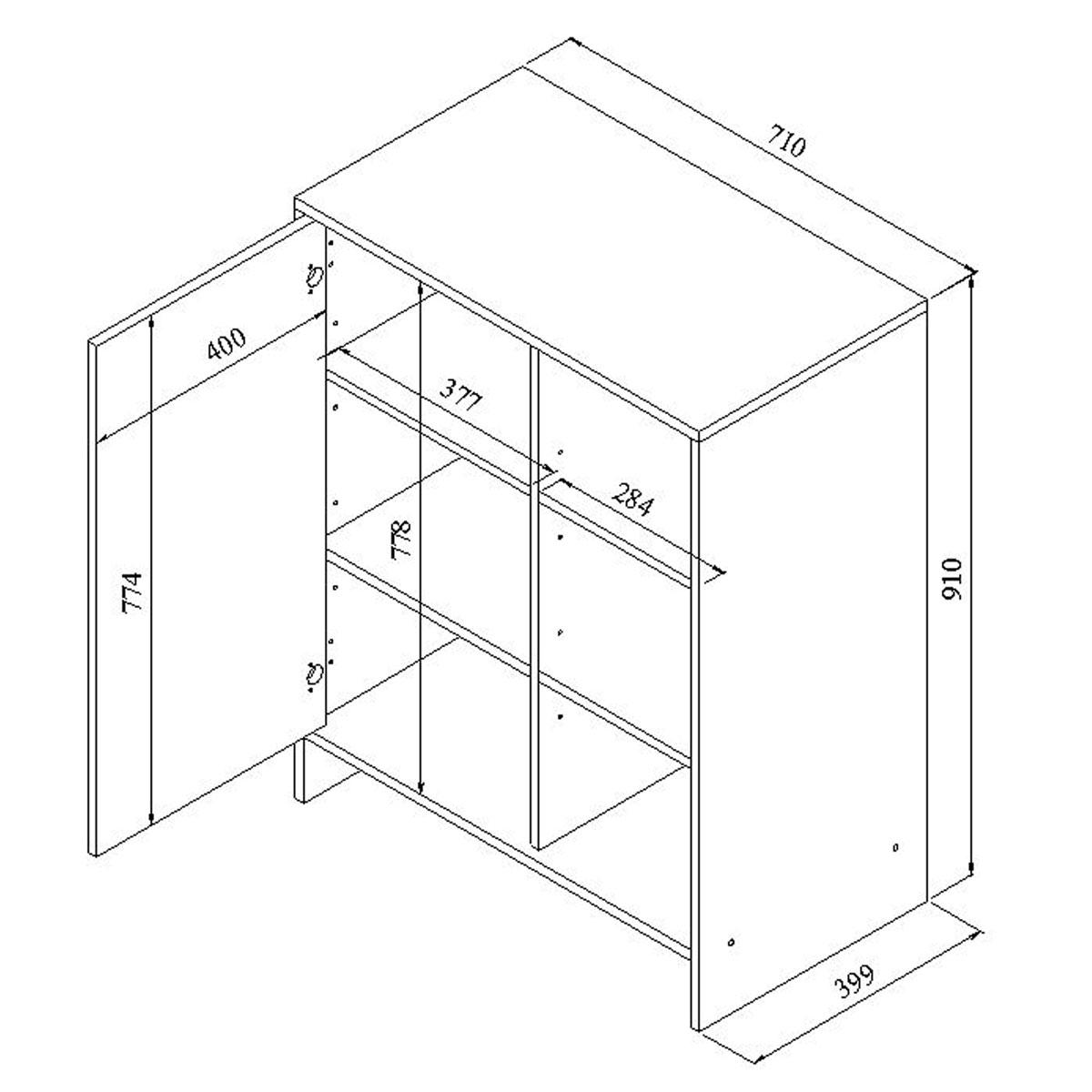 Meuble bas de cuisine 1 porte 3 niches 71 cm noir blanc for Dimension meuble bas cuisine