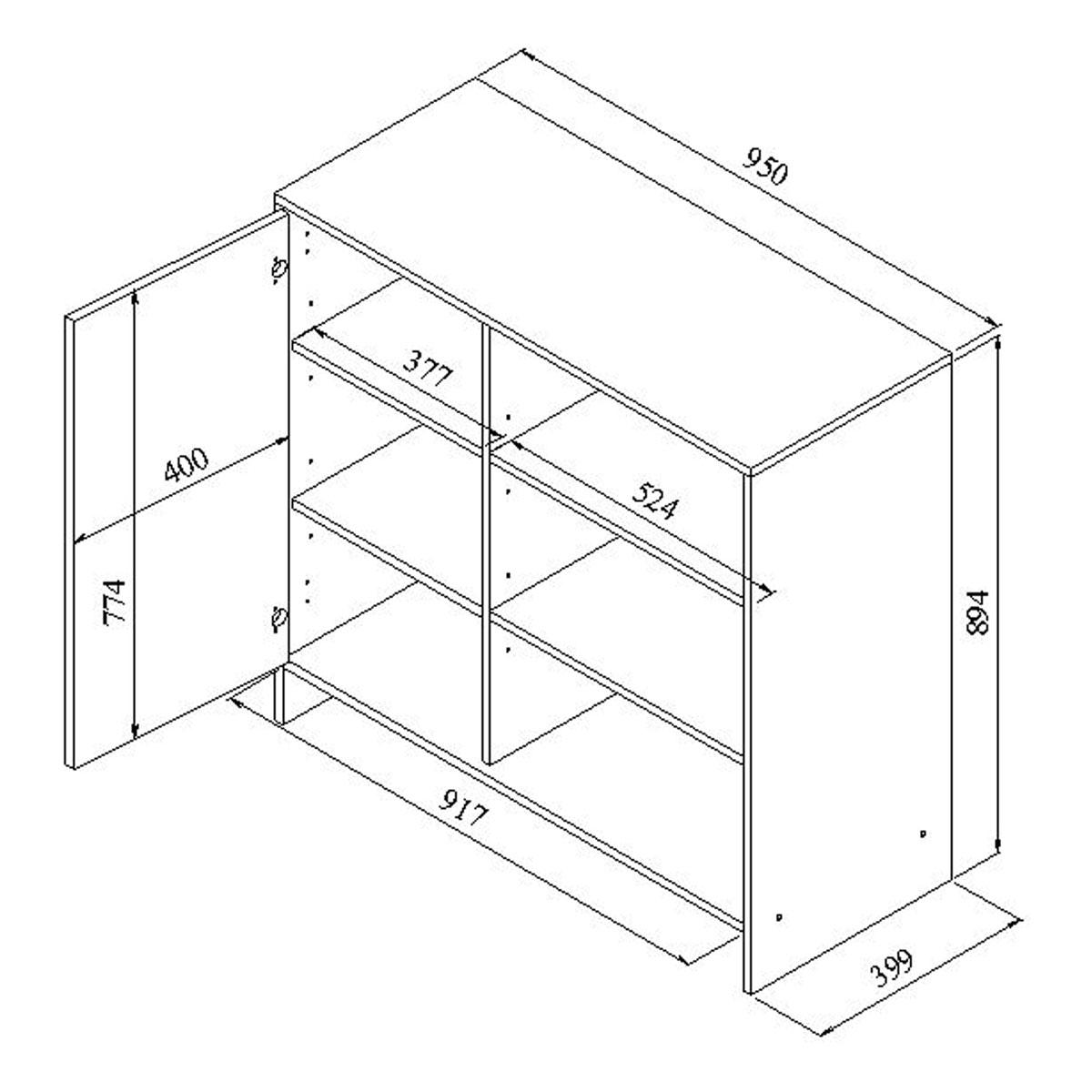 Meuble bas de cuisine 1 porte 3 niches 95 cm noir blanc for Schema cuisine