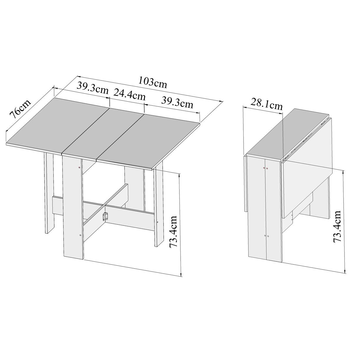 table manger pliante 2 abattants blanc 2050a2100x00. Black Bedroom Furniture Sets. Home Design Ideas