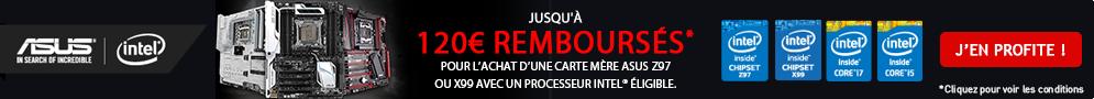 Jusqu'au 27 décembre, 50 à 120€ remboursés pour l'achat d'une carte mère ASUS X99 ou Z97 et d'un CPU Intel séries K ou X