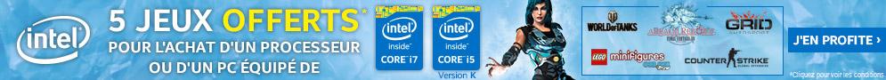 Jusqu'au 15 août, Intel offre 5 jeux pour l'achat d'un processeur Intel Core i5 version K ou Intel Core i7