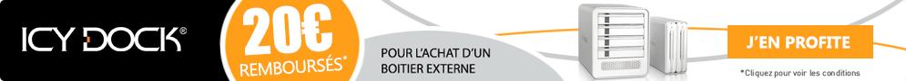 Jusqu'au 30 avril, Icy Dock rembourse 20€ pour l'achat d'un boîtier externe éligible
