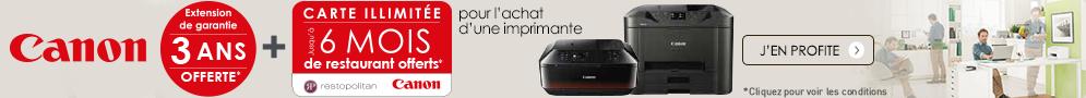 Jusqu'au 31 août, Canon vous offre la garantie 3 ans et vous invite au restaurant pour l'achat d'une imprimante sélectionnée