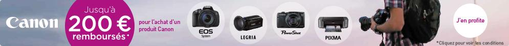 Jusqu'au 31 juillet, Canon rembourse jusqu'à 200€ pour l'achat d'un produit éligible