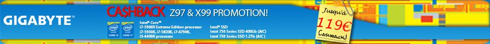 Jusqu'au 26 juin, 32€ à 119€ remboursés pour l'achat d'une carte mère Gigabyte X99 ou Z97 et d'un CPU Intel éligibles
