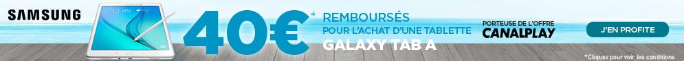 Jusqu'au 30 septembre, Samsung rembourse jusqu'à 40€ pour l'achat d'une Galaxy Tab A porteuse de l'offre L'Équipe
