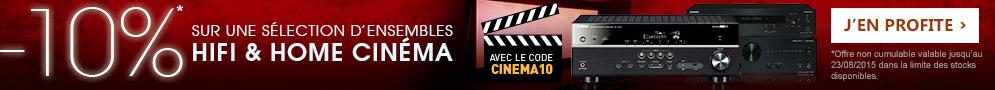 Jusqu'au 23 août 2015 -10% sur une sélection d'ensembles hifi et home-cinéma