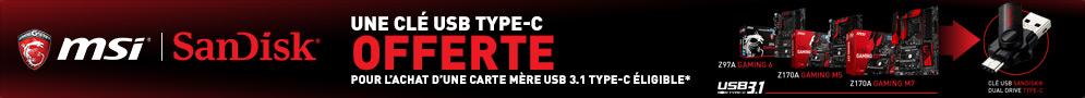 Jusqu'au 19 octobre, MSI offre* une clé USB 3.1 Type C 32 Go pour l'achat d'une carte mère éligible