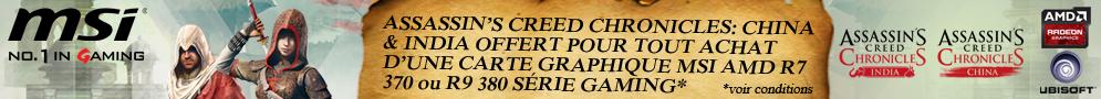 Jusqu'au 31 octobre, MSI offre le jeu Assassin's Creed Chronicles (India / China) pour l'achat d'un produit éligible