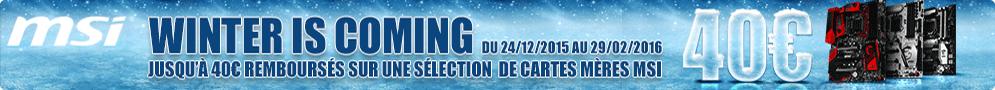 Jusqu'au 29 février, MSI rembourse jusqu'à 40€ sur une sélection de cartes mères éligibles