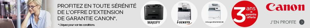 Jusqu'au 31 mars 2017, Canon offre 3 ans de garantie pour l'achat d'un produit éligible