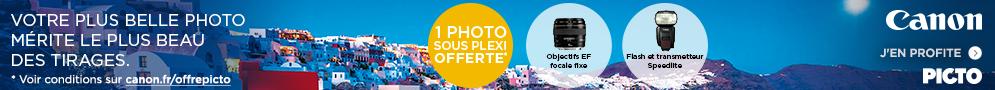 Jusqu'au 15 mai, Canon vous offre votre plus belle photo imprimée sous plexi par le laboratoire historique Picto