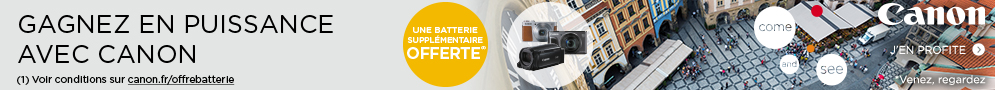 Jusqu'au 22 mai, Canon offre une batterie supplémentaire pour l'achat d'un produit éligible