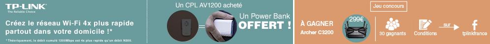 Jusqu'au 10 juillet, TP-Link offre une Powerbank 5200 mAh pour l'achat d'un CPL éligible