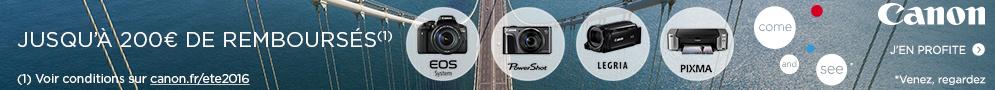 Jusqu'au 14 août, Canon rembourse jusqu'à 200€ sur une sélection de produits + 100 Go d'espace de stockage offert sur Irista