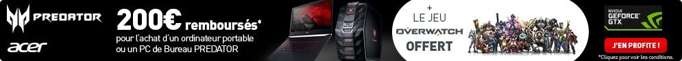 Jusqu'au 1er octobre, Acer offre le Jeu PC Overwatch et rembourse 200€ pour l'achat d'un produit éligible