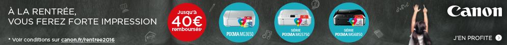 Jusqu'au 16 octobre, Canon rembourse jusqu'à 40€ pour l'achat simultané d'une imprimante PIXMA éligible et de son consommable
