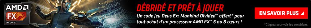 Jusqu'au 14 novembre, le jeu Deus Ex : Mankind Divided est offert pour tout achat d'un processeur AMD FX 6 ou 8 cœurs