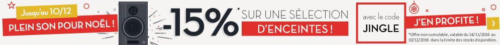 Jusqu'au 10 décembre 2016, -15% sur une sélection d'enceintes