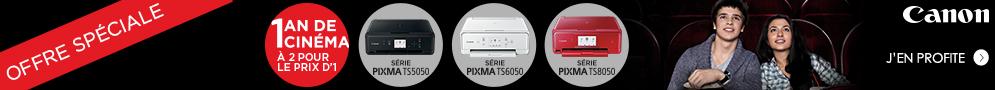 Jusqu'au 28 février, profitez d'un an de cinéma à deux pour le prix d'un pour l'achat d'une imprimante PIXMA éligible