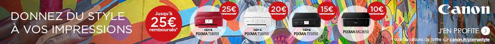 Jusqu'au 21 mai, Canon rembourse jusqu'à 25€ pour l'achat d'une imprimante PIXMA éligible