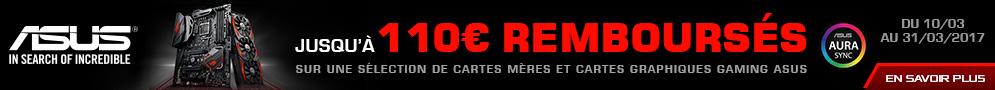 Jusqu'au 31 mars, ASUS rembourse jusqu'à 110€ sur une sélection de Cartes Mères et Cartes Graphiques Gaming