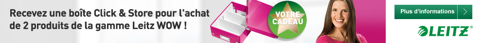 Jusqu'au 5 mai, recevez une boîte Click & Store pour l'achat de 2 produits de la gamme Leitz WOW
