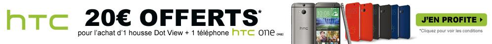 Jusqu'au 31 octobre, HTC rembourse 20€ pour l'achat d'un téléphone HTC One (M8) et d'une housse HTC Dot View
