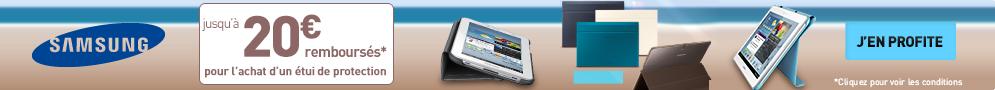 Jusqu'au 30 septembre, Samsung rembourse jusqu'à 20€ pour l'achat d'un étui de protection Book Cover pour tablette