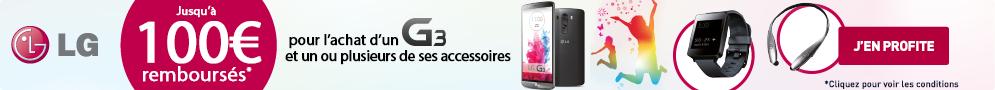 Jusqu'au 30 septembre, LG rembourse jusqu'à 100€ pour l'achat d'un LG G3 et de ses accessoires