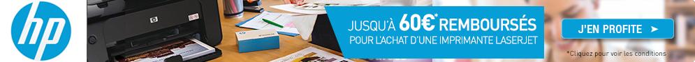 Jusqu'au 20 septembre, HP rembourse jusqu'à 60€ pour l'achat d'une imprimante LaserJet