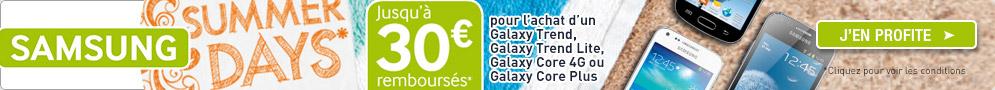 Jusqu'au 30 septembre, Samsung rembourse jusqu'à 30€ sur une sélection de Smartphones