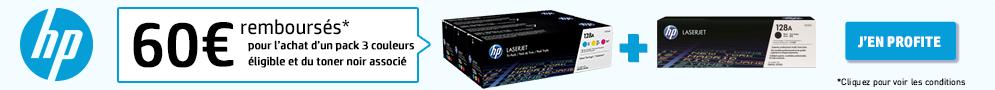 Jusqu'au 31 octobre, HP rembourse 60€ pour l'achat d'un pack 3 couleurs éligible et du toner noir associé