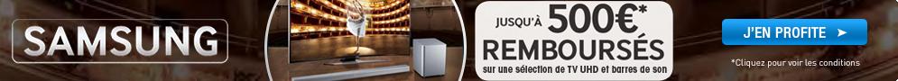 Jusqu'au 6 octobre, Samsung rembourse jusqu'à 500€ sur une sélection de TV UHD et de barres de son