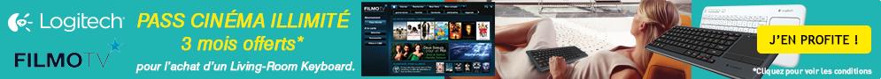 Jusqu'au 23 janvier, le Pass Cinéma Illimité FILMOTV offert pendant 3 mois pour l'achat d'un clavier sans fil Logitech