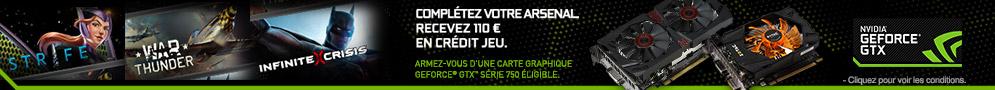 Jusqu'au 31 décembre, profitez de 110€ en crédit de jeu pour l'achat d'une carte graphique GeForce GTX série 750