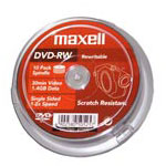 Achat DVD Maxell DVD-RW 1,4 Go 30 min (pack de 10, spindle)