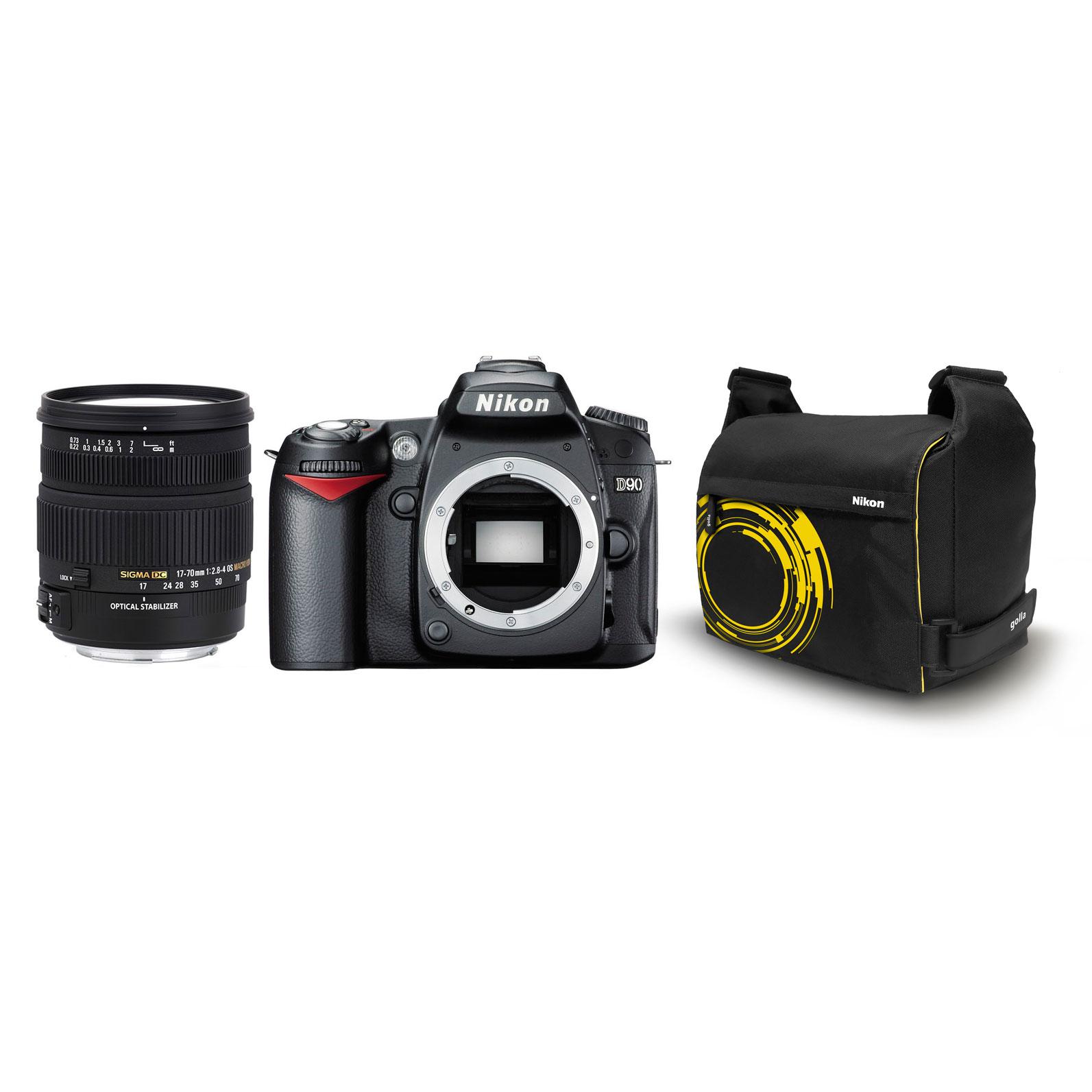 Appareil photo Reflex Nikon D90 + SIGMA 17-70mm F2,8-4 DC Macro OS HSM + Fourre-tout Nikon Golla Nikon D90 + SIGMA 17-70mm F2,8-4 DC Macro OS HSM + Fourre-tout Nikon Golla