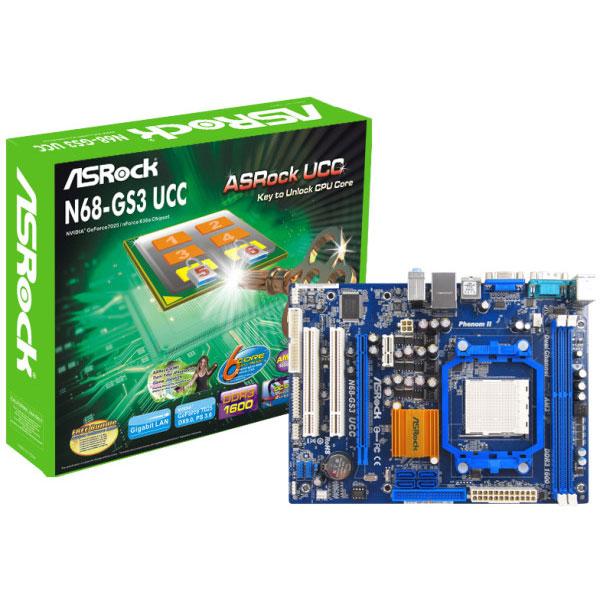 Carte mère ASRock N68-GS3 UCC Carte mère Micro ATX Socket AM3 NVIDIA GeForce 7025 Vidéo intégrée - SATA 3 Gbps - USB 2.0
