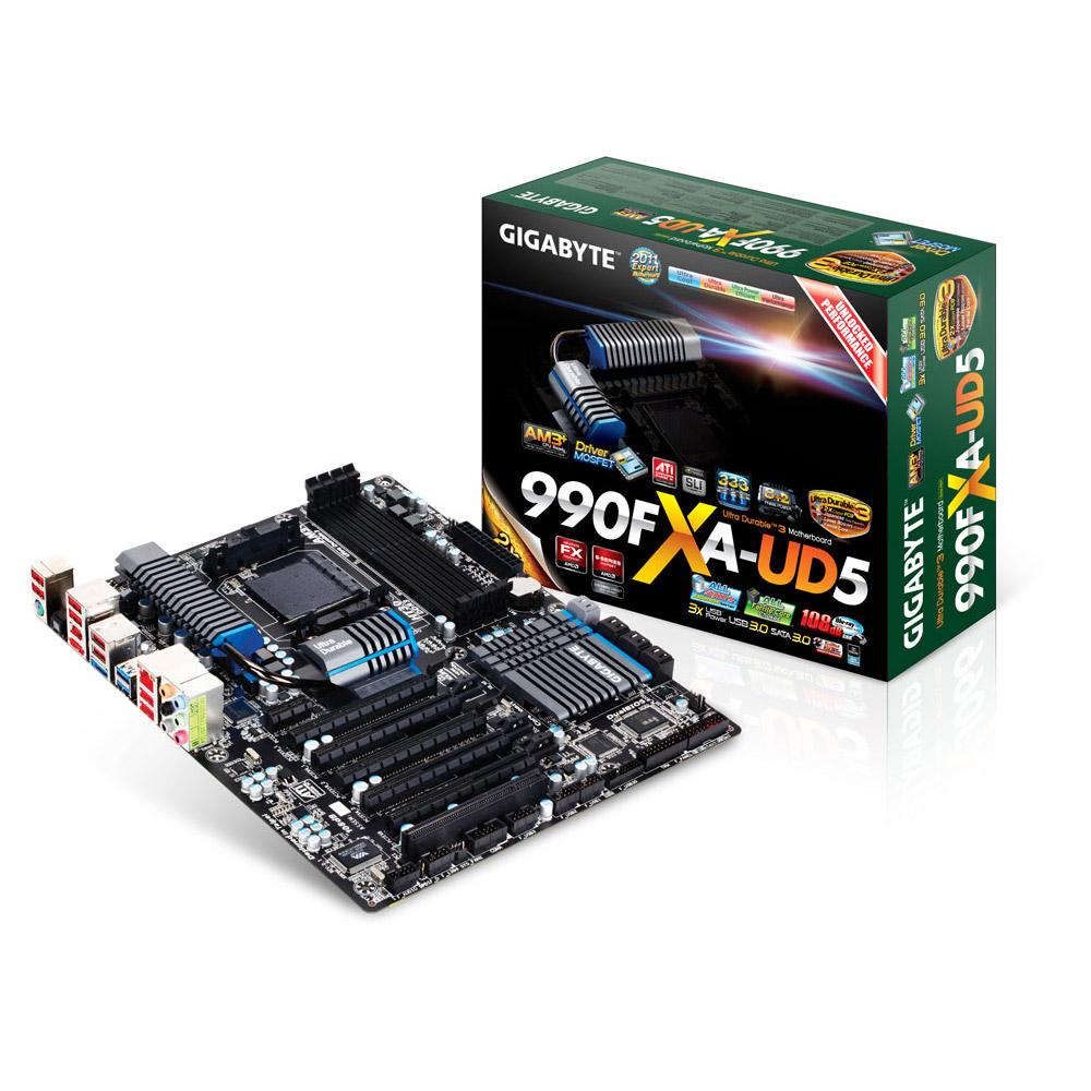 Carte mère Gigabyte GA-990FXA-UD5 Carte mère ATX Socket AM3+ AMD 990FX - SATA 6 Gbps - USB 3.0 - 5x PCI-Express 2.0 16x
