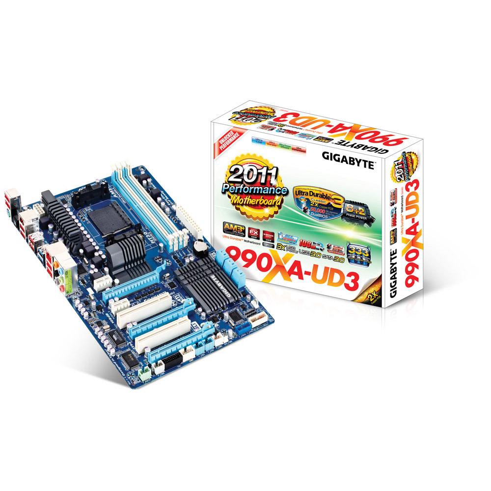 Carte mère Gigabyte GA-990XA-UD3 Carte mère ATX Socket AM3+ AMD 990X - SATA 6 Gbps - USB 3.0 - 3x PCI-Express 2.0 16x