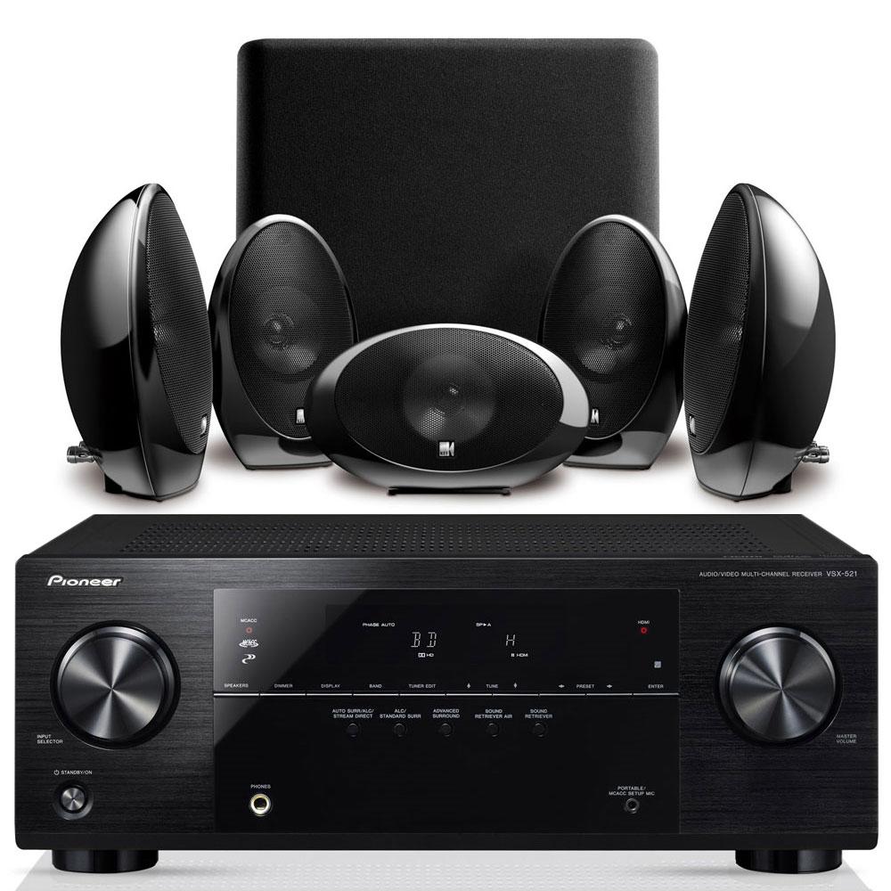 Ensemble home cinéma Pioneer VSX-521 Noir + KEF KHT1005.2 Noir Ampli-tuner Home Cinéma 3D Ready 5.1 avec 4 entrées HDMI 1.4 et décodeurs HD + Pack d'enceintes 5.1