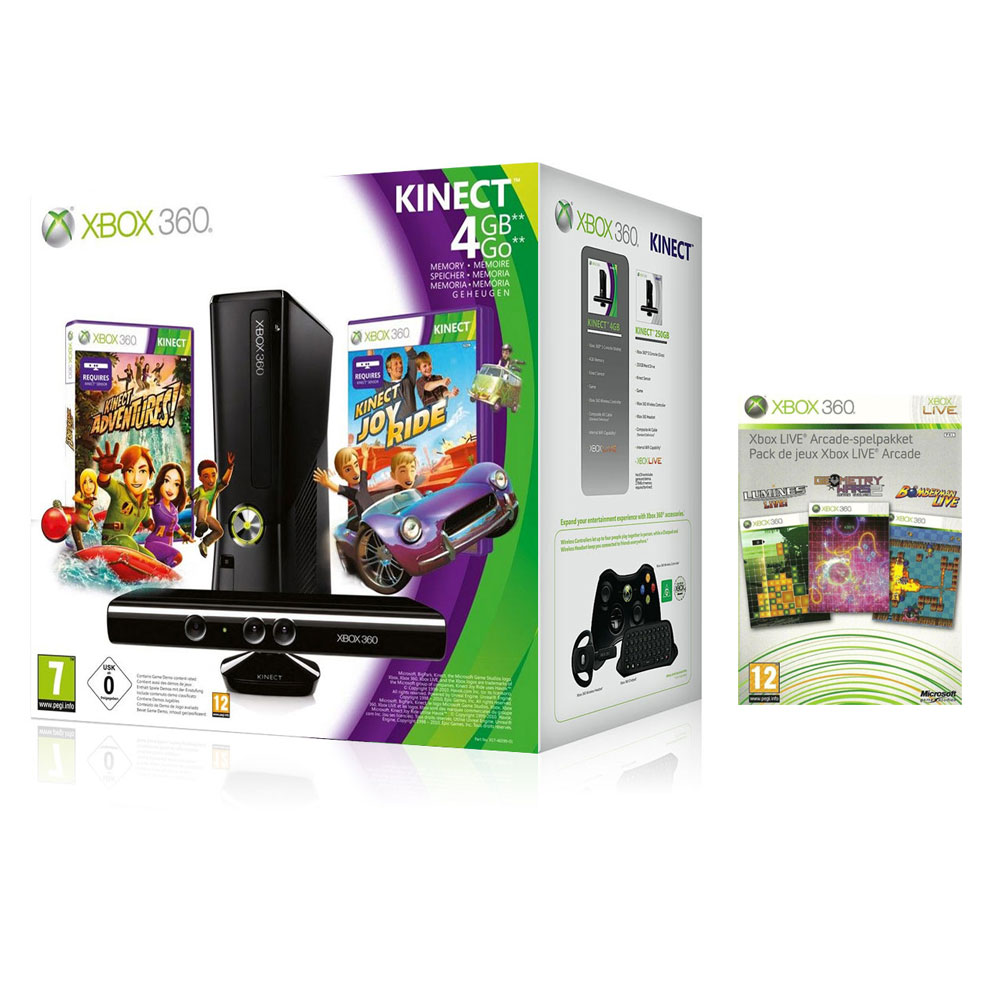 microsoft xbox 360 slim 4 go pack kinect joy ride xbox. Black Bedroom Furniture Sets. Home Design Ideas
