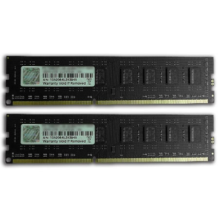 Mémoire PC G.Skill NS Series 4 Go (kit 2x 2 Go) DDR3-SDRAM PC3-10600 G.Skill NS Series 4 Go (kit 2x 2 Go) DDR3-SDRAM PC3-10600 - F3-10600CL9D-4GBNS (garantie 10 ans par G.Skill)