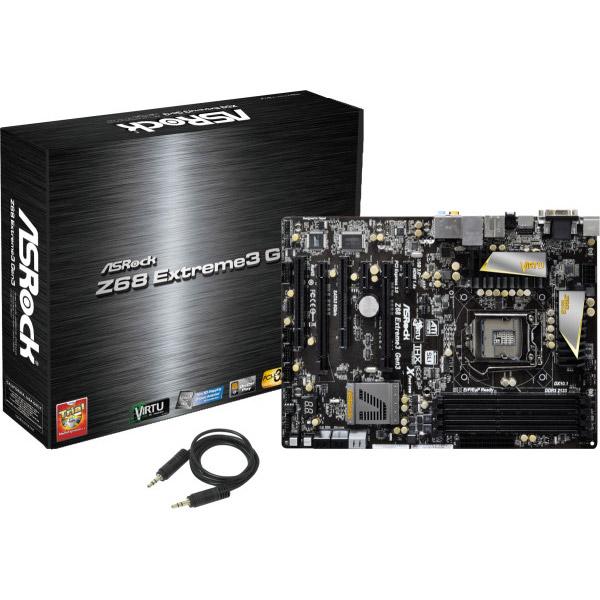 Carte mère ASRock Z68 Extreme3 Gen3 Carte mère ATX Socket 1155 Intel Z68 Express - SATA 6Gb/s - USB 3.0 - 2x PCI Express 3.0 16x