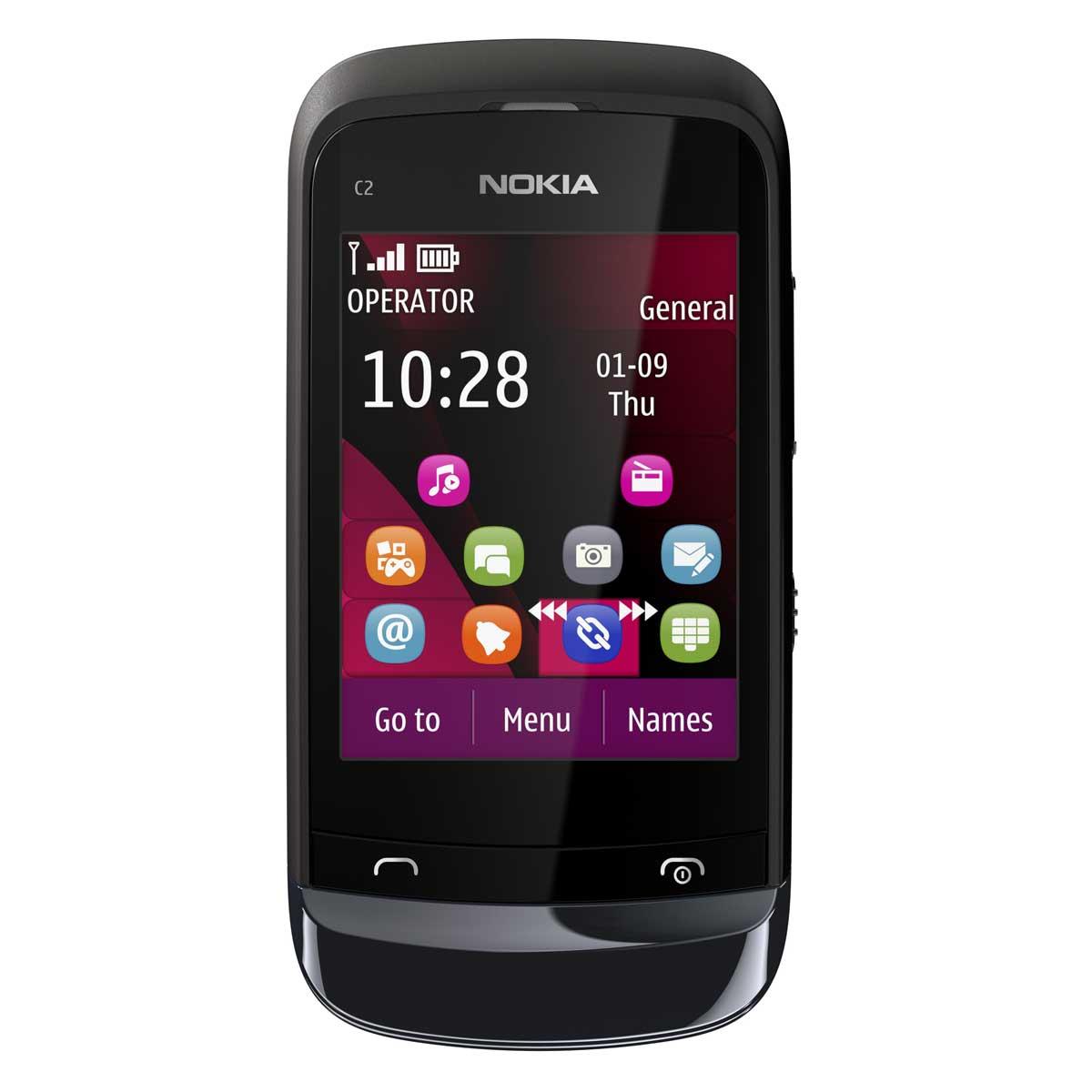 """Mobile & smartphone Nokia C2-02 Noir Téléphone 2G avec écran tactile 2.6"""""""