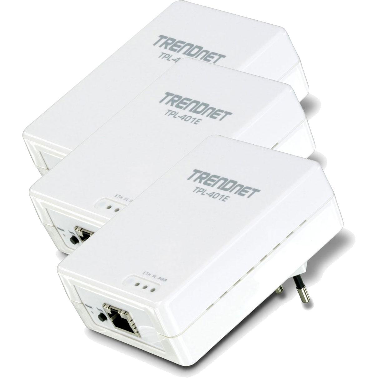 CPL TRENDnet TPL-401E2K + TPL-401E TRENDnet TPL-401E2K + TPL-401E - Kit de 3 adaptateurs CPL 500 Mbps