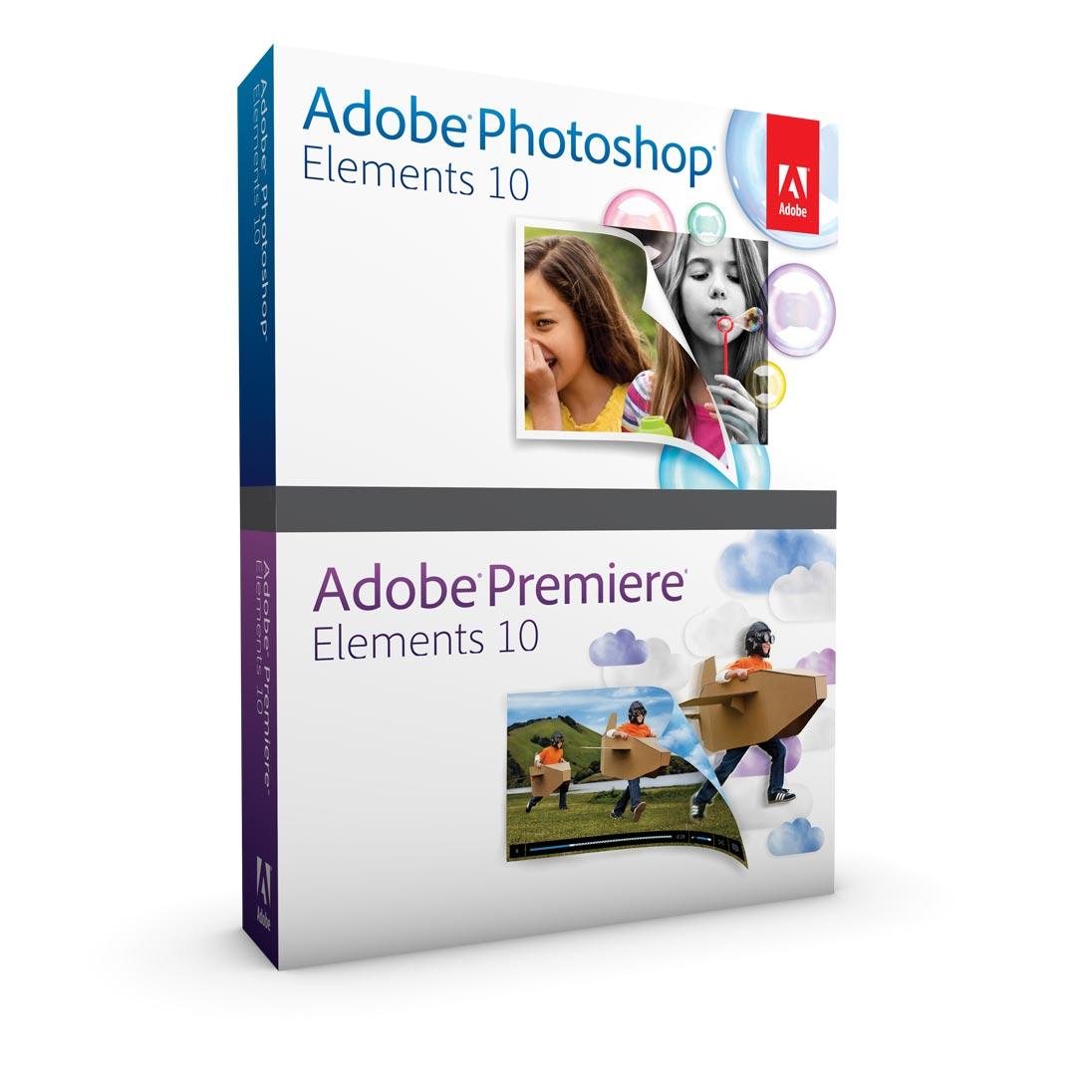 Logiciel graphisme & Photo Adobe Photoshop Elements 10 & Adobe Premiere Elements 10 Logiciels de retouche graphique et de composition vidéo (Français, Windows / Mac Os X)